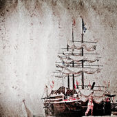 Old sail ship grunge paper texture — 图库照片