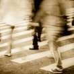 Crowd on zebra crossing street — Stock Photo
