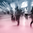 Blur passenger walk at subway station — Stok fotoğraf