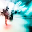 Blur passenger walk at subway station — Stock Photo
