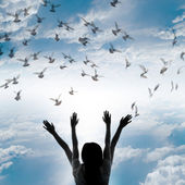 Silhouette of girl and flying dove on sky background, — Stock Photo