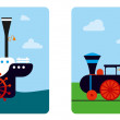 Ship and  train — Image vectorielle