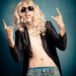 Heavy metal rock star parody - Stock Photo