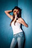 Girl with Venetian mask — Stock Photo