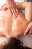 Upper back massage technique — Stock Photo