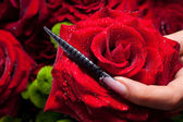 Red rose and black nail — Stock Photo