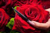 Czerwona róża i czarny paznokci — Zdjęcie stockowe
