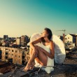 Angel on the roof — Stock Photo