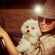 Girl and dog in car — Photo