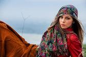 Outono moda mulher — Foto Stock
