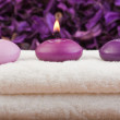 Purple candles on massage towel (3) — Stock Photo #3193371