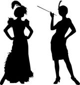 Silhouettes of women from cabaret — Stock Vector