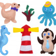 Stock Photo: Penguin, octopus, seahorse, secalf and lighthouse