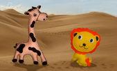 Giraff och lejon — Stockfoto