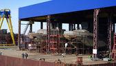 Vessel under construction on the stocks — Stock Photo