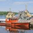 Stock Photo: New vessels at berth shipyard