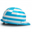 Grecian flag on construction helmet — Stock Photo