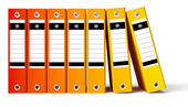 Row of red office folders, gradient red to yellow — Stockfoto
