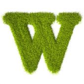 Grass style Latin Alphabet Letter W — Stock Photo