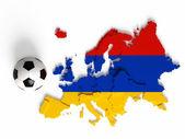 Bandera de armenia en mapa europeo con las fronteras nacionales — Foto de Stock