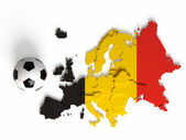 Belgian flag on European map with national borders — Stock Photo