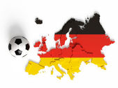 German flag on European map with national borders — Stock Photo