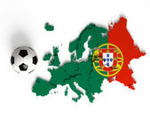 Portuguese flag on European map with national borders — Stock Photo