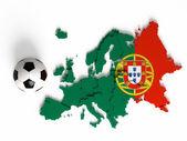 Flaga portugalii na mapę europy z granicami państw — Zdjęcie stockowe
