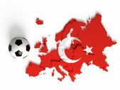 Turkish flag on European map with national borders — Stock Photo