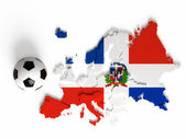 Flaga dominikany na mapę europy z granicami państwowymi — Zdjęcie stockowe