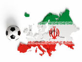 Iran flag on European map with national borders — Stock Photo