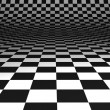 Curved chequered floor — Foto de Stock
