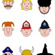 Foto Stock: Cartoon character heads