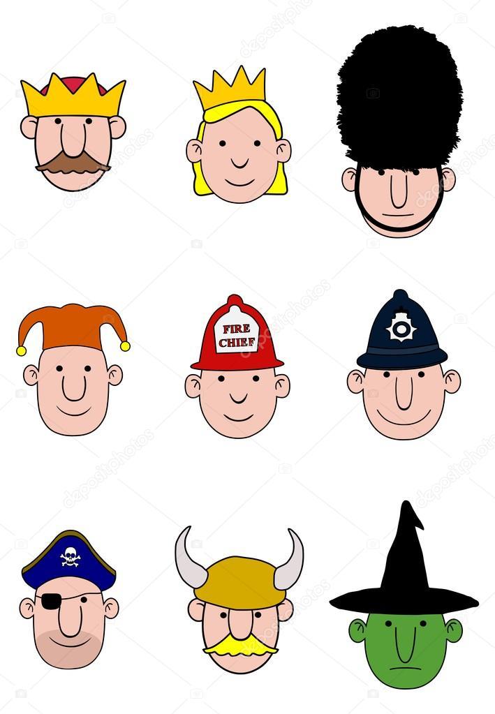 Cartoon Characters Heads : Cartoon character heads — stock photo darrenw