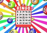Bingo card and balls — Stock Photo