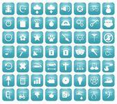 Aqua Downy Icon Set 2 — Stockfoto