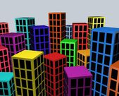 Colorful city blocks — Stock Photo