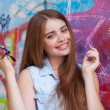 Red-haired girl hipster — Stock Photo