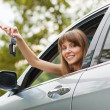 Caucasian car driver woman smiling — Stock Photo #31164247