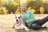 Man and central Asian shepherd — Stock Photo