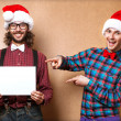 Photo of two men in clothes of Santa Claus  — Stock Photo