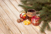 Christmas border with ornament, golden present — Stockfoto