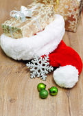 Christmas border with ornament, golden present — Stock Photo