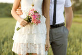 Close Up of just married couple in the park — Stock Photo