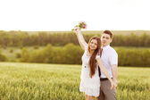 Just married couple hugging and smiling — Stock fotografie