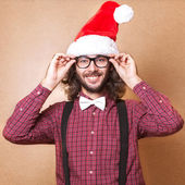 Handsome man dressed as Santa Claus. emotional portrait, hipster — Stock Photo