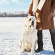 Man and central Asian shepherd walk in the lake — Stock Photo #37363425