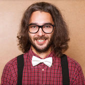 Hipster guy 's clothes in plaid shirt , suspenders and white but — 图库照片