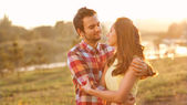 Young couple in love outdoor — Stock fotografie