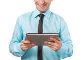タブレット コンピューターを使用して実業家 — ストック写真